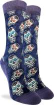 Good Luck Sock Women's Sugar Skulls Crew Socks - Purple, Adult Shoe Size 5-9