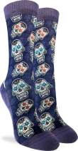 Good Luck Sock Women's Sugar Skulls Crew Socks - Purple, Adult Shoe Size 5-9