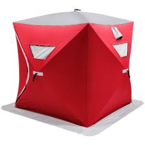 Happybuy Ice Fishing Shelter 2 3 4 8 Person Pop-up Ice Fishing Shelter Waterproof Portable Ice Tent for Outdoor Fishing(Red for 3 Person