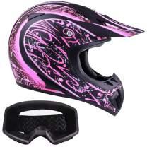 Typhoon Adult Women's Dirt Bike Helmet and Goggles ATV Motocross Off Road, Matte Pink w/Black (Small)