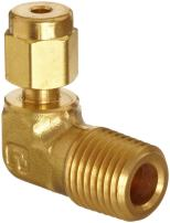 """Parker A-Lok 8MSEL8N-B Brass Compression Tube Fitting, 90 Degree Elbow, 1/2"""" Tube OD x 1/2"""" NPT Male"""