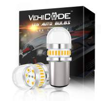 VehiCode Super Bright 950Lms 1157 LED Light Bulb (3000K Amber Yellow) Kit - 2357 2057 7528 1157A 1034 BAY15D Dual Contact Function Replacement for Car Turn Signal Light Blinker Parking Lamps (2 Pack)