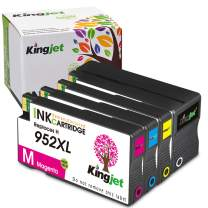 Kingjet Compatible Replacements for 952, 952XL Ink Cartridges Work with Officejet Pro 7740 8210 8216 8702 8710 8715 8720 8725 8730 8740 Printers, 4 Pack with Newest Updated Chips in April, 2020