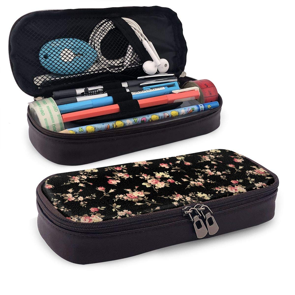 AHOOCUSTOM Floral Flower Leather Pencil Pen Case Double Zippers School Office Stationery Bag for Girls Boys or Adults (Brown)