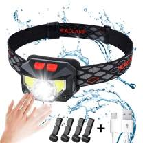 Headlamp, Rechargeable Motion Sensor Head Lamp, 1000 Lumens 8 Modes, IPX45 Waterproof Headlight and 4 Helmet Clips, Bright White Light and Red Light for Outdoor Camping Cycling Running Auto Repair