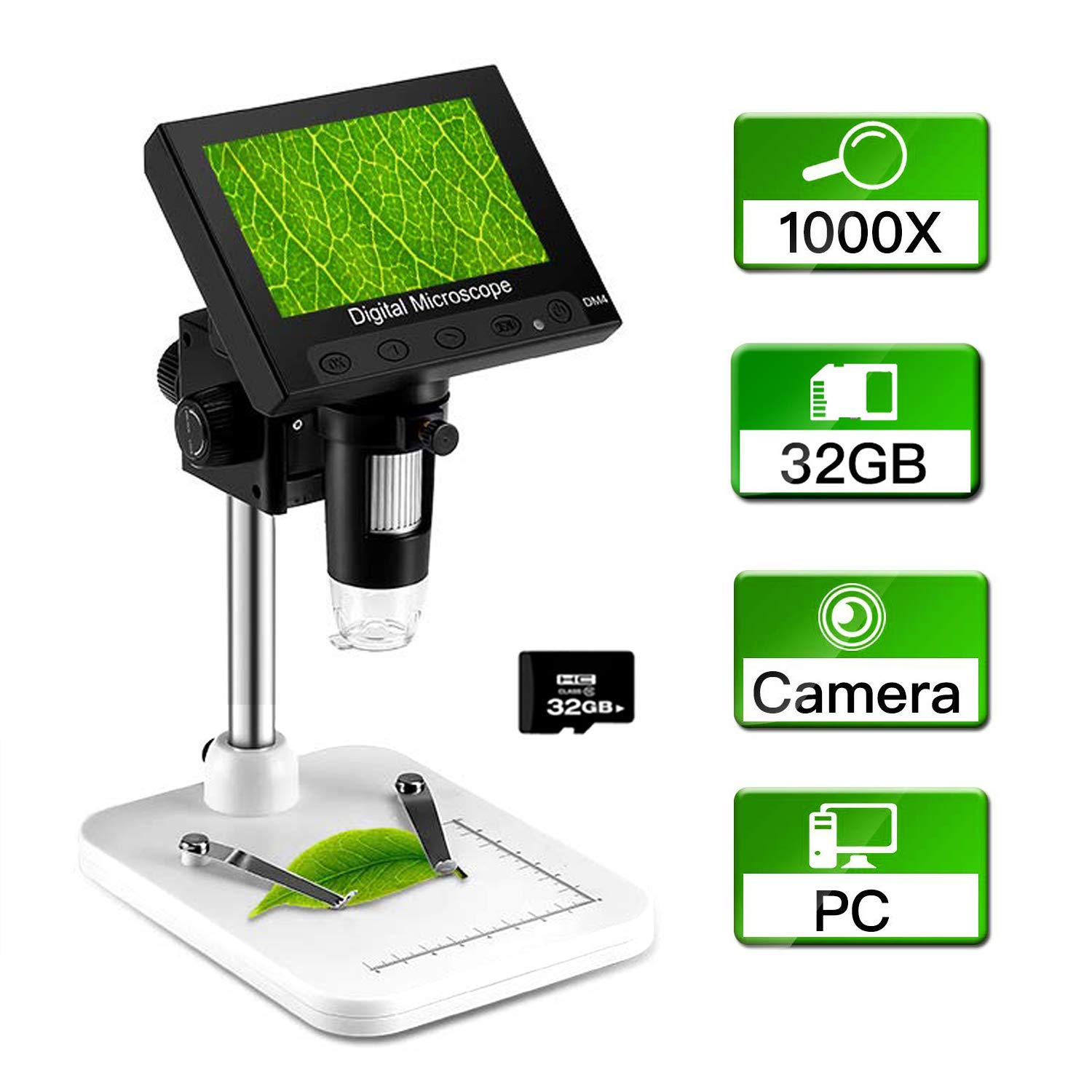 Elikliv 4.3 inch LCD Digital USB Microscope with 32GB Card Camera Video Recorder 1000X Magnification Zoom, 8 Adjustable LED Light, Micro-SD Storage for Repair Soldering