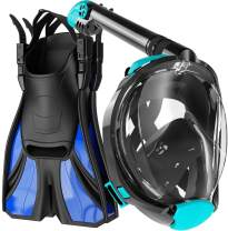 cozia design Snorkel Set Adult - Full Face Snorkel Mask and Adjustable Swim Fins, 180° Panoramic View Scuba Mask, Anti Fog and Anti Leak Snorkeling Gear