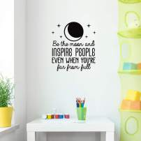 "Vinyl Wall Art Decal - Be The Moon and Inspire People - 24"" x 22"" - Modern Motivational Positive Quote Sticker Cute Design for Bedroom Home Office Teen Room Coffee Shop Decor (Black)"