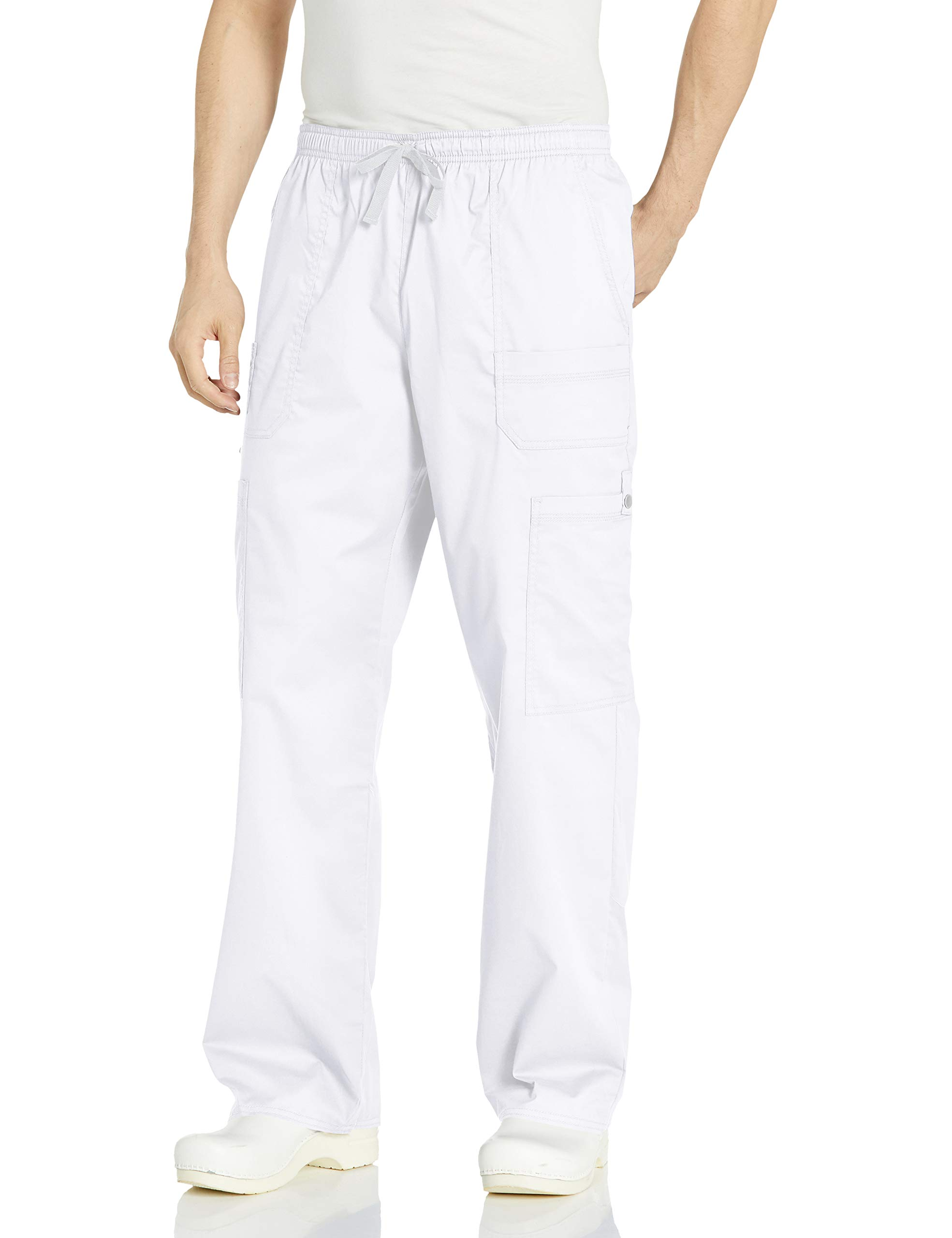 Dickies Men's GenFlex Utility Drawstring Cargo Scrubs Pant, White, X-Small