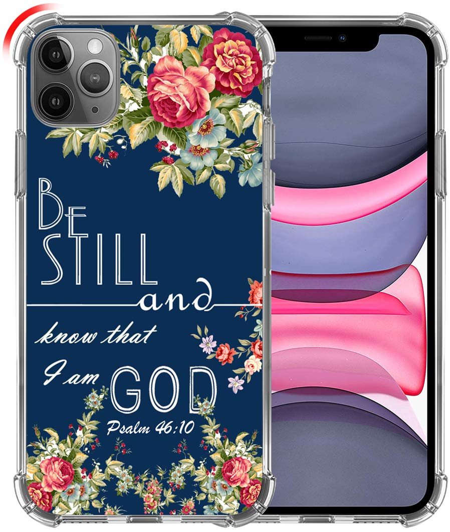 Hungo Case for iPhone 11 Pro, Soft TPU Cover Clear Heavy Duty Protection Compatible for iPhone 11 Pro Christian Sayings Bible Verses Be Still and Know That I am God
