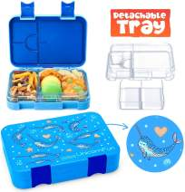 UnicornFun Bento box 6 Compartment Bento-Style Kids Childrens Lunch Box BPA-Free Food-Safe Materials Storage Bags Freezer Safe, Lunch Solution Offers, Leak-Proof for Lunch, Snacks, Fruit(Blue)