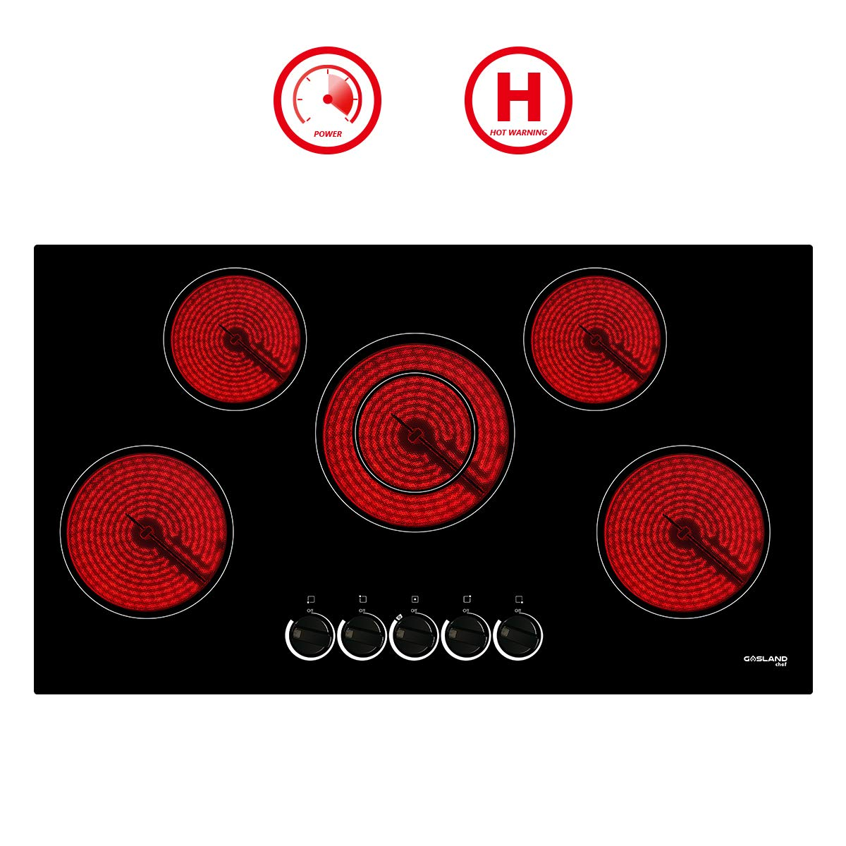 """36"""" Built-in Electric Cooktop, GASLAND Chef CH90BS 240V Ceramic Cooktop, Drop-in 5 Burner Coil Electric Radiant Cooktop, 7 Power Levels, Mechanical Knob Control, Hot Warning, Hardwired"""