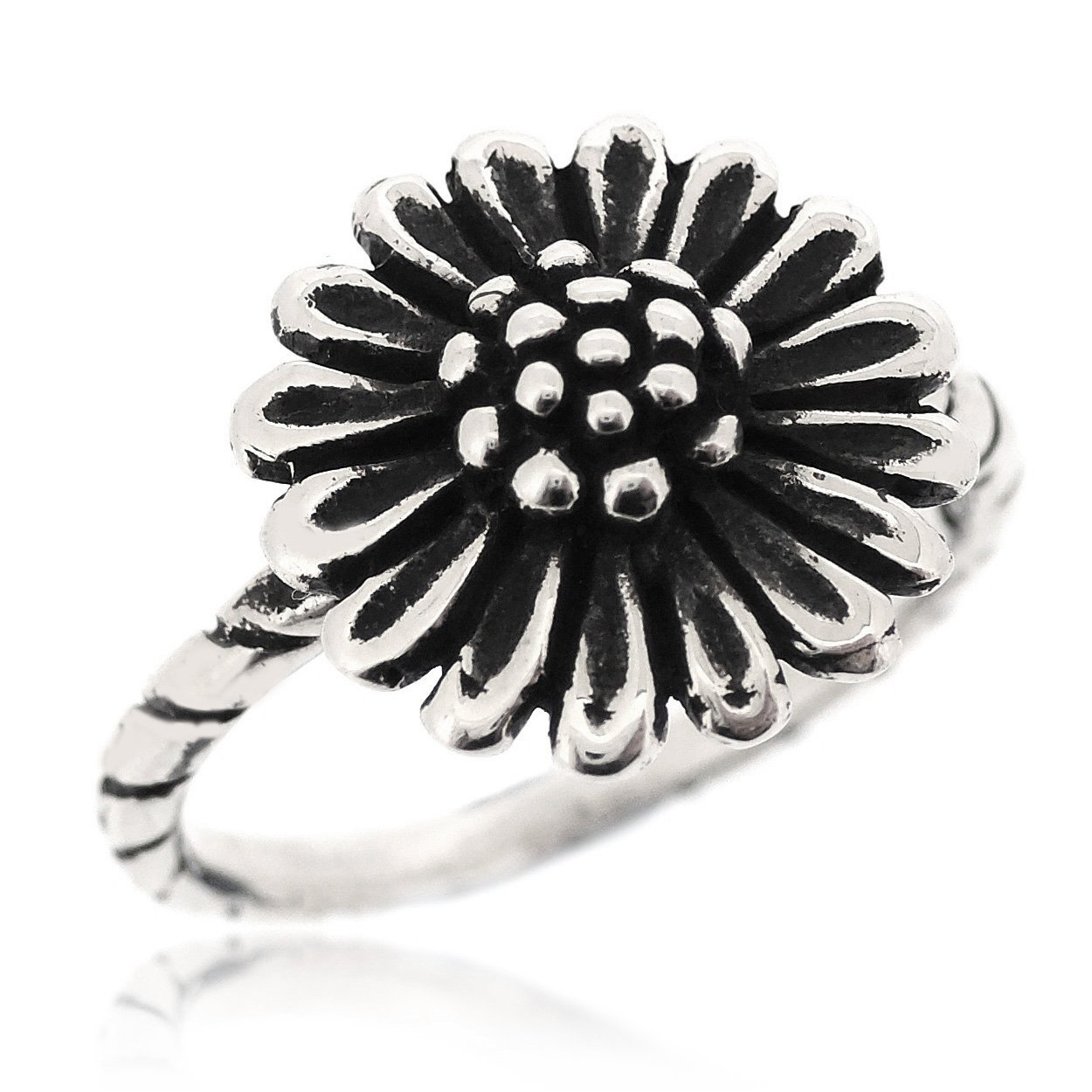 SOVATS Sunflower Antique Blossoming Style Ring for Women 925 Sterling Silver Oxidized Surface - Perfect for Nature Lover