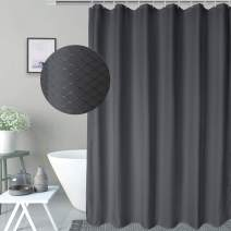 AooHome Waffle Weave Decorative Shower Curtain 60 x 72 Inch, Waterproof Polyester Fabric Bath Curtains with Hooks, Weighted Hem, Charcoal