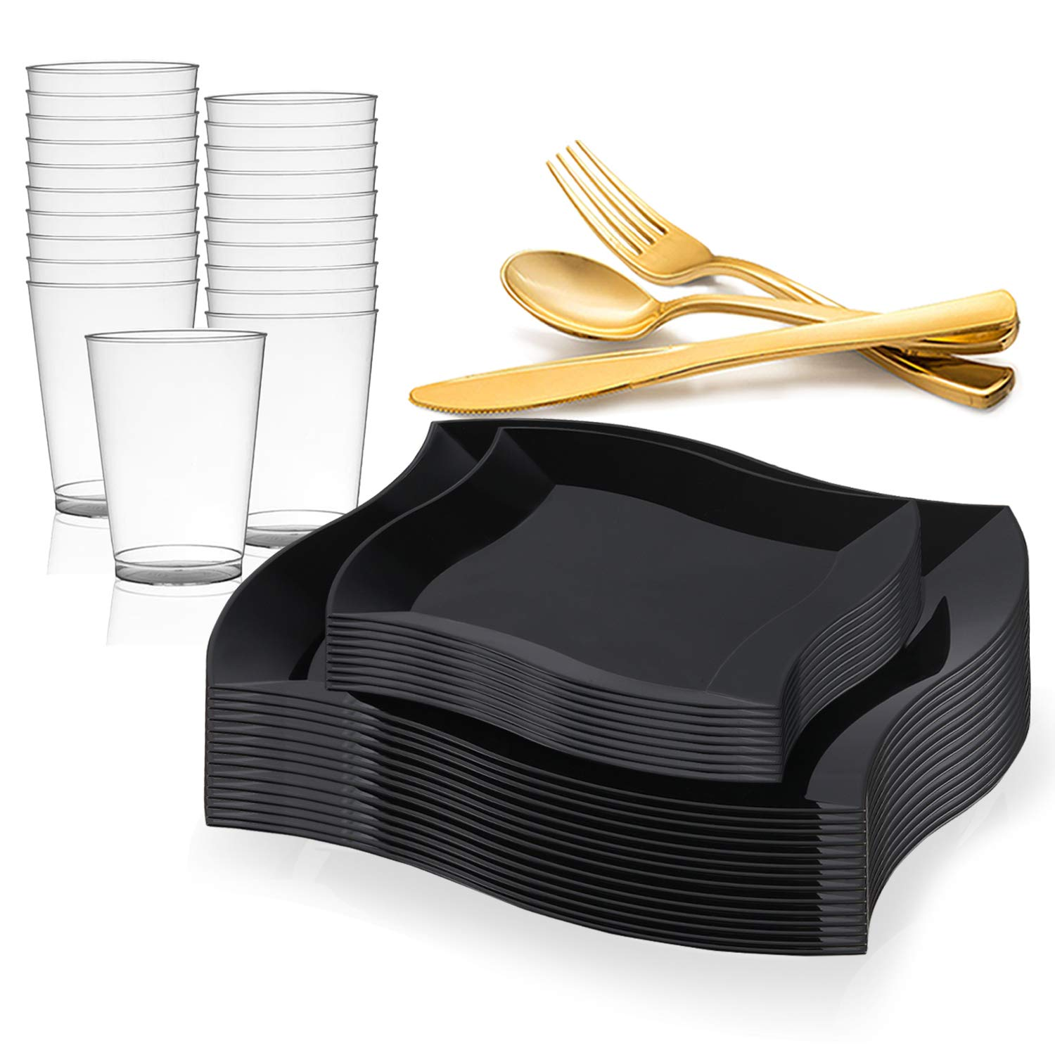 Elegant Disposable Plastic Dinnerware Set for 60 Guests - Includes Fancy Wave Black Dinner Plates, Dessert / Salad Plates, Gold Silverware/Cutlery & Cups For Wedding, Birthday Party & Other Occasions