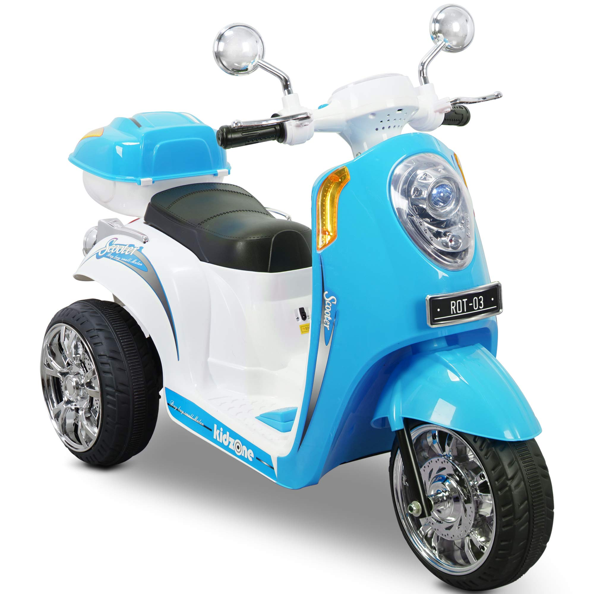 Kidzone Ride On Motorcycle Toy for Toddlers Aged 3+ Years - 6V Battery-Powered 3-Wheel Power Scooter with Music, Headlight, Horn, Storage Trunk, Key Switch - for Boys & Girls, Blue
