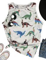 Women Dinosaur Toys Tank Tops Party Funny Tee Shirt Casual Park World Costume