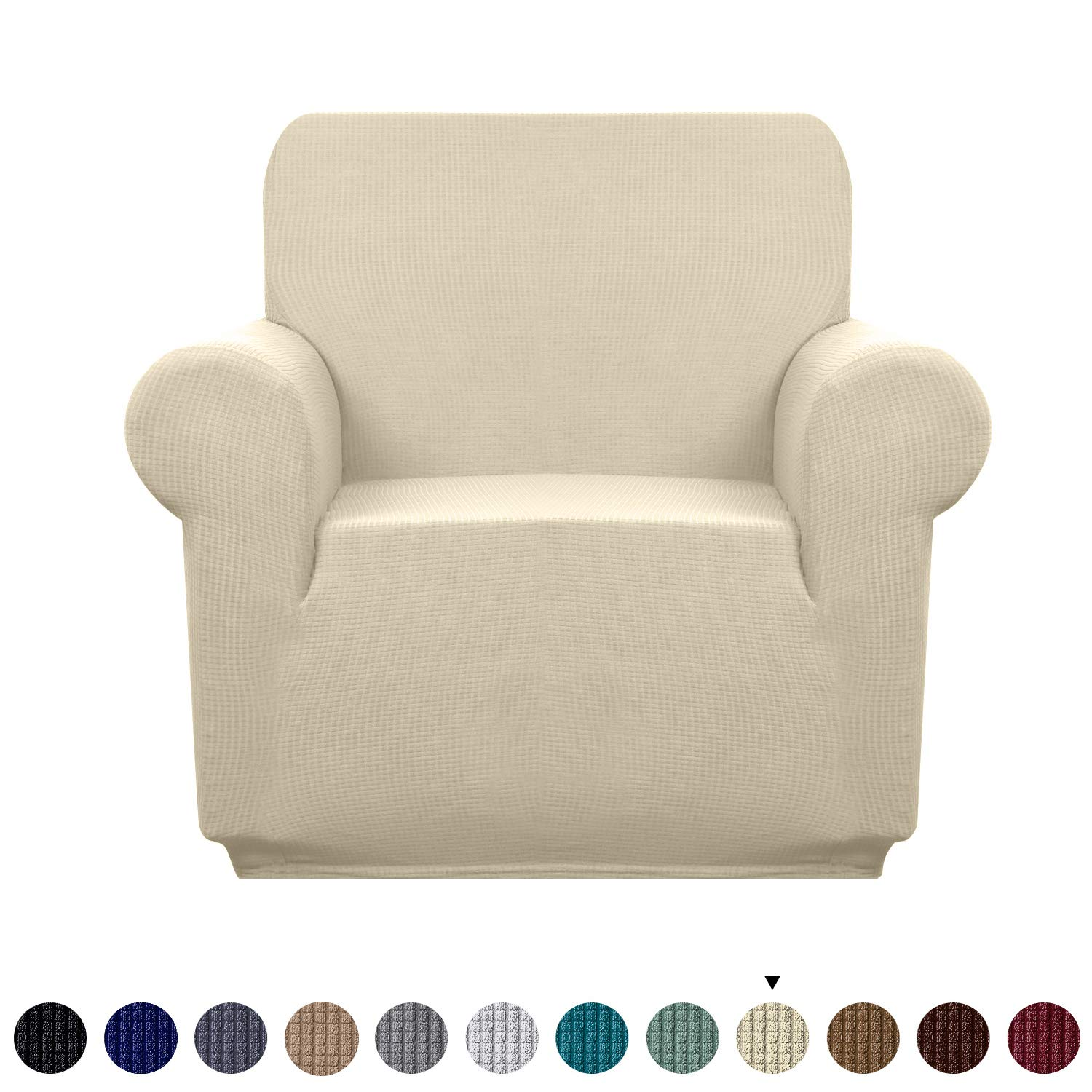 Granbest Premium Water Repellent Sofa Cover High Stretch Couch Slipcover Super Soft Fabric Couch Cover (Beige, Chair)