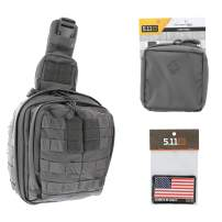5.11 RUSH MOAB 6 Tactical Sling Pack Med First Aid Patriot Bundle - Storm