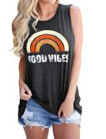 Akihoo Women Good Vibes Tank Tops Round Neck Funny Rainbow Graphic Sleeveless Shirts