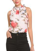 Pinspark Womens Summer Chiffon Sleeveless Blouse Ruffle Halter Floral Tank Tops