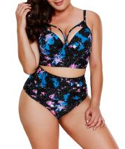 LALAGEN Women's Strappy Hollow Out Floral Swimwear Plus Size High Waist Bikini Sets