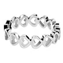 West Coast Jewelry   ELYA Women's Stainless Steel Open Heart Eternity Ring (5 mm) - Sizes 5-9