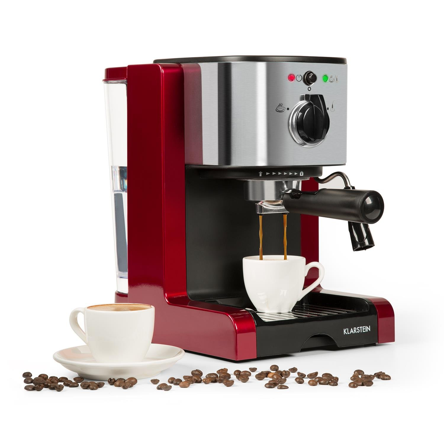 Klarstein Passionata Rossa 15 Espresso Machine • 15 Bar • Capuccino • Milk Foam • 1350W • Stylish Design for Modern Kitchens • Steam Nozzle for Frothing Milk and Preparing Hot Drinks • Red
