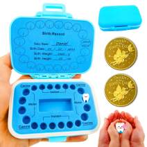 Baby Teeth Keepsake Box, pp Children Kids Tooth Storage Holder Organizer Printed in English to Keep The Child-Wood Memory with 2Pcs Tooth Fairy Golden Coin (Blue)