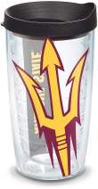 Tervis 1126406 Arizona State Sun Devils Colossal Tumbler with Wrap and Black Lid 16oz, Clear