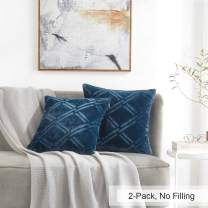 """PHF Flannel Throw Pillow Covers 18"""" x 18"""" Navy Blue Super Soft Cozy Warm Decorative for Bed Sofa Chair Couch Travel Pets Microfiber"""