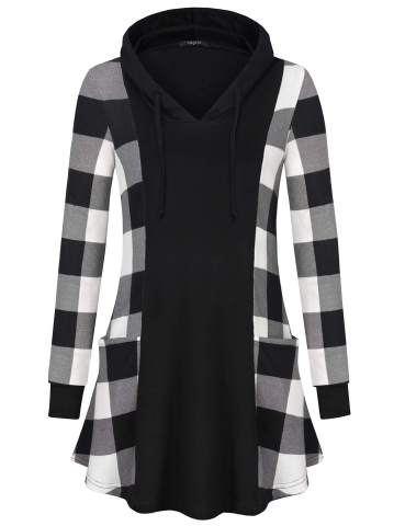 VALOLIA Womens Long Sleeve Plaid Pullover Color Block Hooded Sweatshirt with 2 Pockets