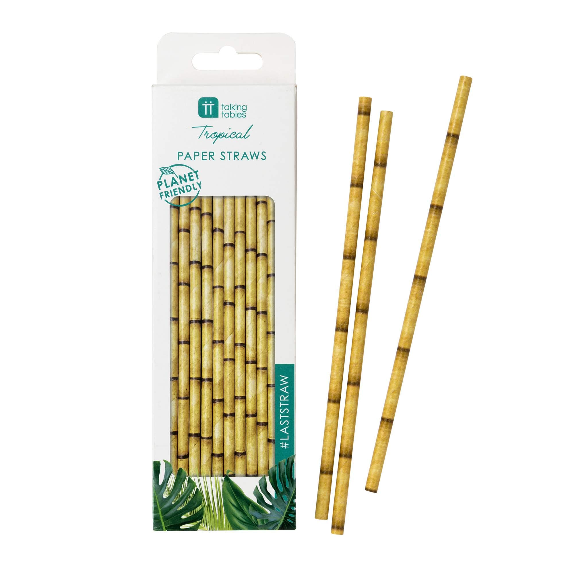 Talking Tables FST6-STRAW Tropical Party Supplies Birthday Decorations Fiesta Bamboo Paper Straws, Pack of 30, Biodegradable Eco-Friendly