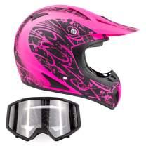 Typhoon Adult Women's Dirt Bike Helmet and Goggles ATV Motocross Off Road, Matte Pink w/Black (XL)