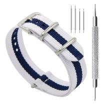 CIVO Watch Bands NATO Premium Ballistic Nylon Watch Strap Stainless Steel Buckle (Ivory/Navy, 22mm)