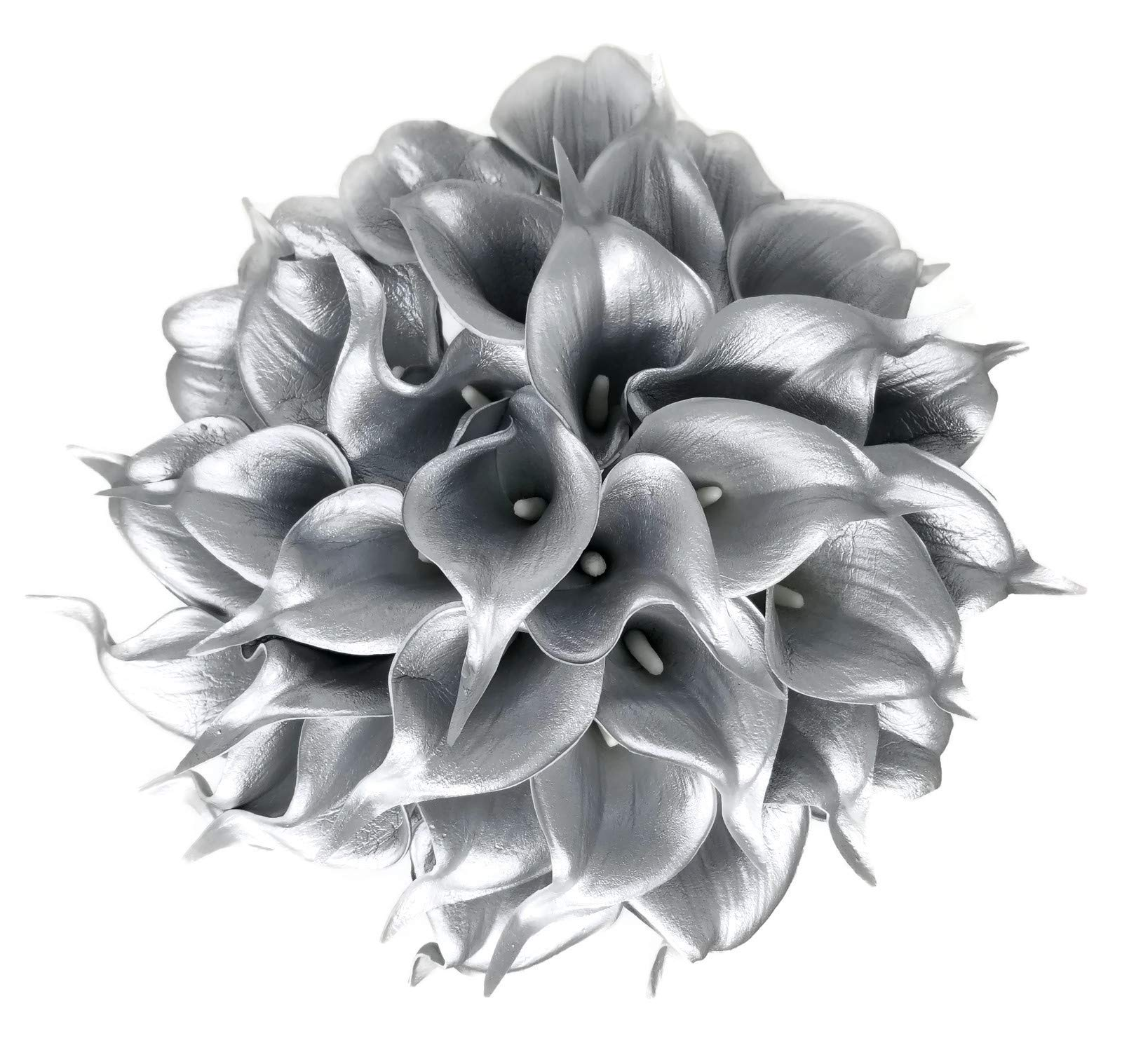 """Floral Kingdom 18 PCS 14"""" Real Touch PU Latex Artificial Calla Lily Flowers for Wedding Bouquets, centerpieces, and Floral Decor (925 Silver)"""