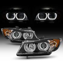 For 2006-2008 BMW E90 3-Series Sedan [HID AFS model] Black Bezel Dual U-Halo Ring LED Projector Headlights