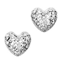 14k Gold Diamond Cut Puffy Heart Stud Earrings, 7 x 8mm