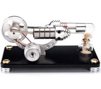Sunnytech Hot Air Stirling Engine Colorful LED Flywheel Education Toy Electricity Power Generator Model (M14-03-L Black)