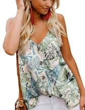 Eddoyee Women V Neck Camisole Tops Sleeveless Spaghetti Strap Cami Tank Top with Button