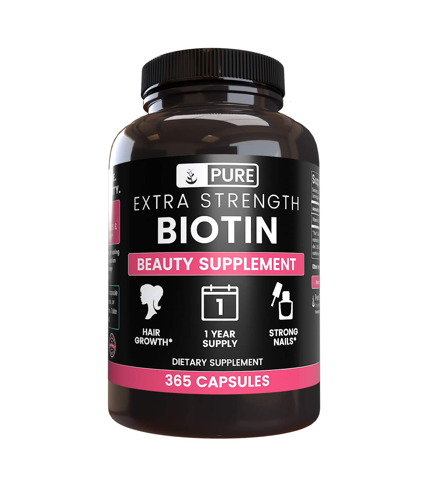 Natural Source Extra Strength Biotin, 365 Capsules, 1 Year Supply, Gluten-Free, Made in USA, Non-GMO, Potent, 8750mcg of Biotin per Serving for Hair & Skin*