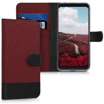 kwmobile Wallet Case Compatible with Xiaomi Redmi 5 Plus/Redmi Note 5 (China) - Fabric Faux Leather Cover with Card Slots, Stand - Dark Red/Black