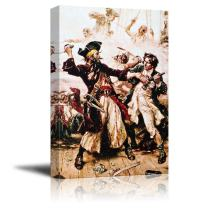 """wall26 - Capture of The Pirate, Blackbeard by Jean Leon Gerome Ferris - Canvas Print Wall Art Famous Painting Reproduction - 32"""" x 48"""""""