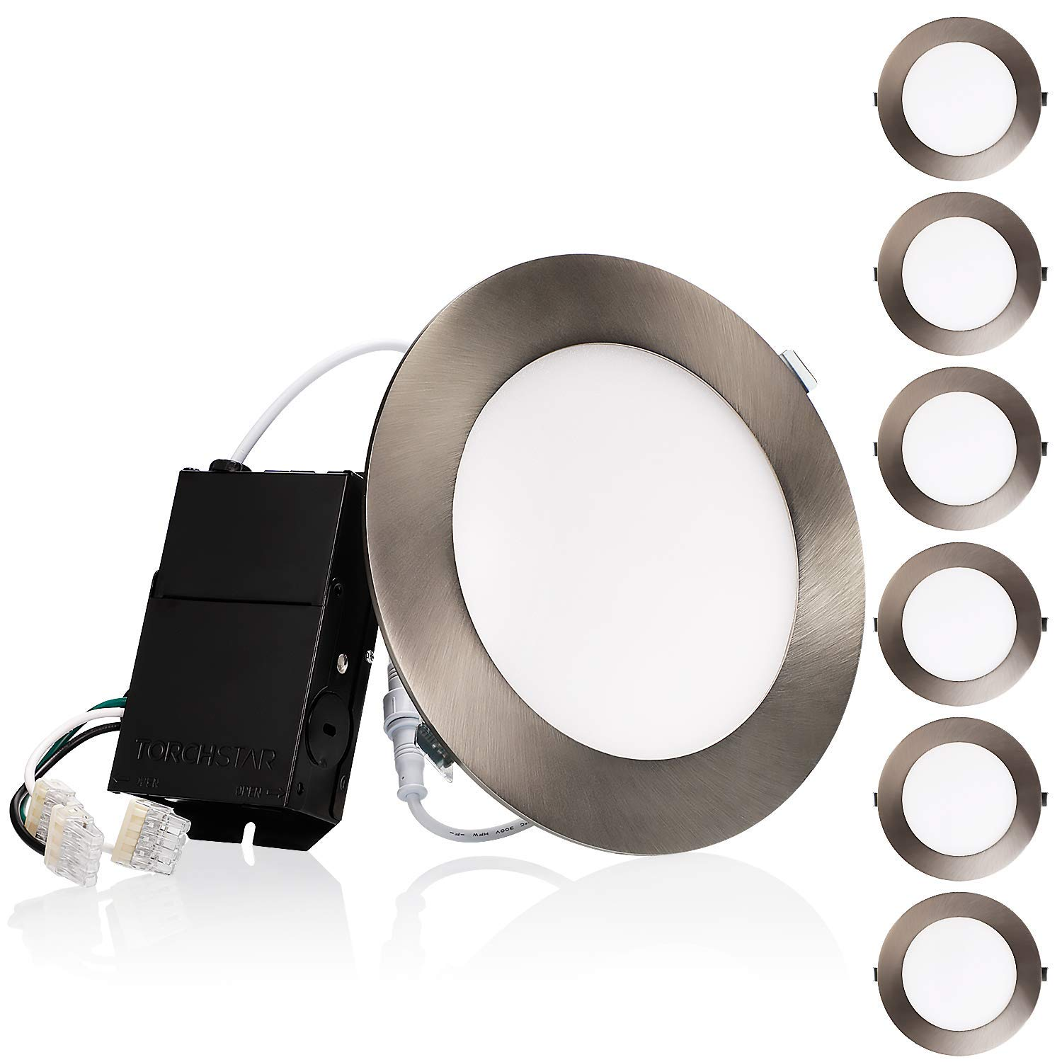 TORCHSTAR Premium 6 Inch Slim Panel Downlight with J-Box, 13.5W Dimmable Ultra-Thin LED Recessed Light, 2700K Soft White, 850lm, ETL & Energy Star, 5-Year Warranty, Satin Nickel, Pack of 6