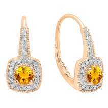 Dazzlingrock Collection 10K 4 MM Round Gemstone & Diamond Ladies Halo Style Dangling Earrings, Rose Gold