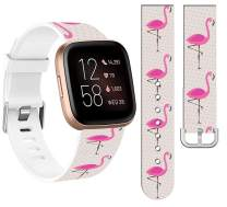 Bands for Fitbit Versa 3 Silicone Designer & Cisland Durable Design Patterned Print for Women Girls Strap Replacement Compatible with Fitbit Sense/Versa 3 Small Large + Pink Flamingo Animal