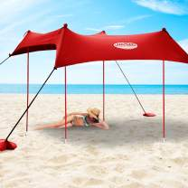 UMARDOO Family Beach Sunshade with 4 Sand Anchors,4 Aluminum Poles & Carring Bag,UPF 50+