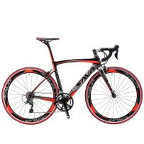 SAVADECK Carbon Road Bike, Warwinds3.0 700C Carbon Fiber Racing Bicycle with SORA 18 Speed Derailleur System and Double V Brake