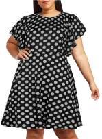 Nemidor Women's Vintage Ruffle Sleeve Party Midi Dress Plus Size Casual Summer Fit and Flare Dress NEM212 (20W, Black Dot)
