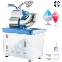 VEVOR 110V Commercial Electric Ice Shaver 440lbs/h Heavy Duty Snow Cone Maker with Dual Blades, Stainless Steel Slush Margarita Machine for School, Church, Restaurants, Bars, Blue